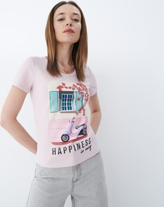 Różowy t-shirt Mohito z okrągłym dekoltem z krótkim rękawem w młodzieżowym stylu