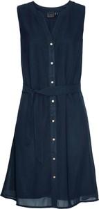 Granatowa sukienka bonprix bpc selection z dekoltem w kształcie litery v bez rękawów szmizjerka