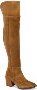 Brązowe kozaki Oleksy za kolano ze skóry na obcasie