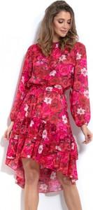 Sukienka Fobya asymetryczna z długim rękawem