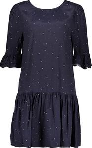 Granatowa sukienka khujo z jedwabiu w stylu casual z krótkim rękawem