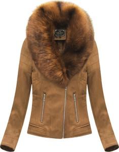 Brązowa kurtka Libland w rockowym stylu krótka