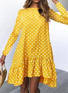 Sukienka Sandbella z długim rękawem w stylu casual z okrągłym dekoltem