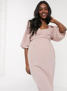 ASOS DESIGN Maternity – Różowa sukienka midi z kopertowym przodem i bufkami-Różowy