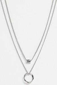 ASOS DESIGN – Wielowarstwowy naszyjnik ze skręconą bryłką, koralikiem i kółkiem w odcieniu srebra-Srebrny