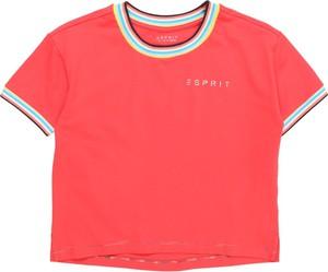 Czerwona bluzka dziecięca Esprit z tkaniny z krótkim rękawem