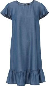 Niebieska sukienka bonprix z krótkim rękawem mini w stylu casual