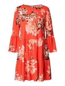 Pomarańczowa sukienka Marc Cain mini z długim rękawem z okrągłym dekoltem