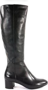 Czarne kozaki Nessi przed kolano na obcasie ze skóry