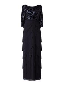 Granatowa sukienka Christian Berg Cocktail z szyfonu maxi prosta
