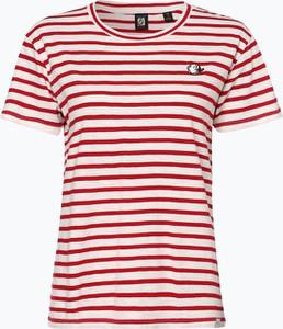 Czerwony t-shirt Scotch & Soda z okrągłym dekoltem w stylu casual
