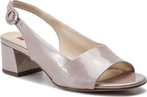 Różowe sandały Hogl ze skóry w stylu glamour z klamrami