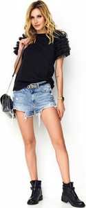 Bluzka Makadamia z okrągłym dekoltem z jeansu