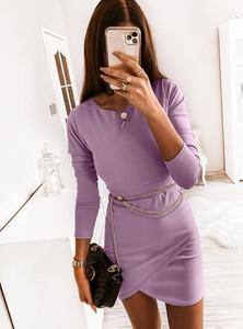 Sukienka Pakuten z długim rękawem dopasowana mini