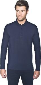 Niebieska koszulka polo Recman z długim rękawem