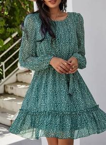 Sukienka Sandbella z okrągłym dekoltem z długim rękawem