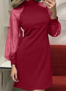 Różowa sukienka Cikelly mini z długim rękawem ołówkowa