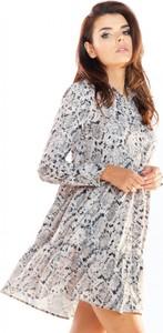 Sukienka Awama z długim rękawem z golfem w stylu casual