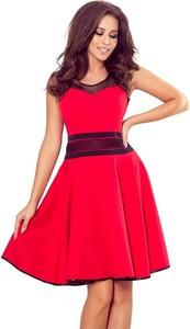Czerwona sukienka NUMOCO bez rękawów mini rozkloszowana
