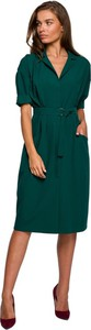 Zielona sukienka Style z długim rękawem midi z dekoltem w kształcie litery v