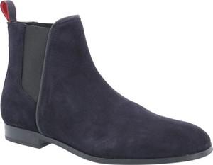 Niebieskie buty zimowe Hugo Boss ze skóry
