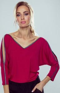 Czerwona bluzka eldar z długim rękawem
