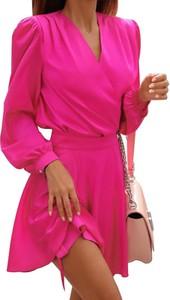 Sukienka Sandbella z długim rękawem mini z dekoltem w kształcie litery v