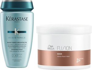 Kerastase Force Architecte Bain and Fusion Intense Repair Mask | Zestaw regenerujący włosy: szampon 250ml + maska 500ml - Wysyłka w 24H!