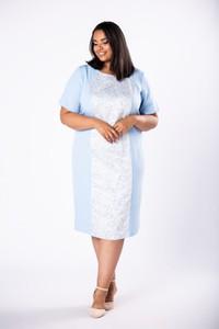 Sukienka Moda Dla Ciebie midi z krótkim rękawem