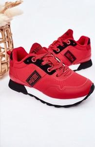 Czerwone buty sportowe dziecięce Big Star z tkaniny sznurowane