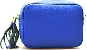 Niebieska torebka Barberini`s z frędzlami w stylu casual ze skóry