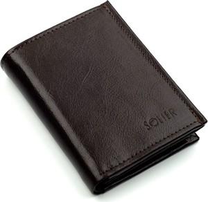 Brązowy portfel męski Solier ze skóry