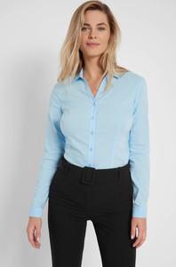 Niebieska koszula ORSAY z tkaniny z długim rękawem