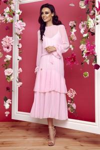 Różowa sukienka Lemoniade midi z okrągłym dekoltem z długim rękawem