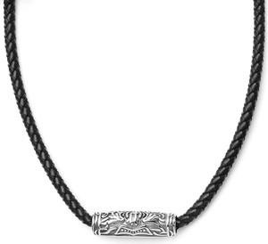 Trendhim Czarny skórzany naszyjnik z motywem runy w kształcie tuby