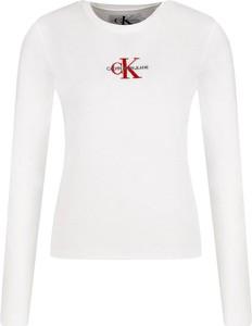 Bluzka Calvin Klein w stylu casual z długim rękawem z okrągłym dekoltem