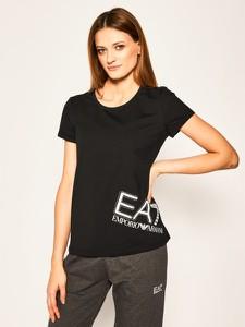Czarny t-shirt Emporio Armani z okrągłym dekoltem z krótkim rękawem