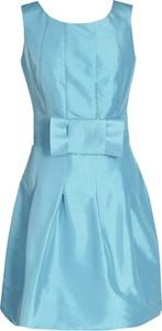 Miętowa sukienka Fokus mini rozkloszowana z krótkim rękawem