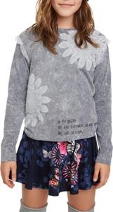 Koszulka dziecięca Desigual w kwiatki z długim rękawem
