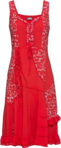 Czerwona sukienka bonprix RAINBOW z dekoltem w kształcie litery v midi w stylu casual