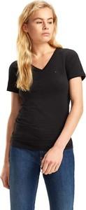 Czarny t-shirt Tommy Jeans w stylu casual z krótkim rękawem