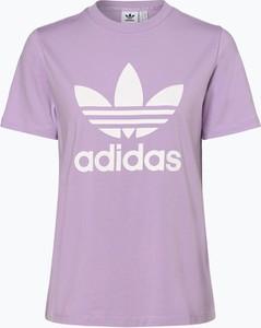 Fioletowy t-shirt Adidas Originals z dżerseju z okrągłym dekoltem z krótkim rękawem