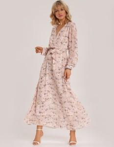 Różowa sukienka Renee z dekoltem w kształcie litery v z długim rękawem maxi