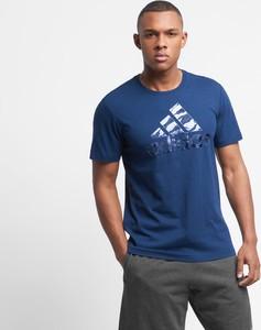 Niebieski t-shirt Adidas Performance z bawełny