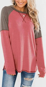Różowa bluzka Sandbella z długim rękawem z dresówki