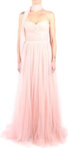 Różowa sukienka Pronovias bez rękawów maxi
