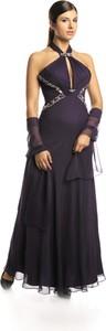 Fioletowa sukienka Fokus bez rękawów maxi