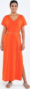 Pomarańczowa sukienka Big Star z dekoltem w kształcie litery v