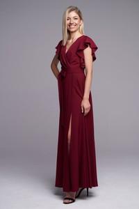Czerwona sukienka Ella Boutique maxi z tkaniny z krótkim rękawem