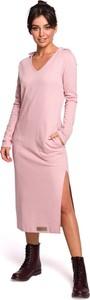 Sukienka MOE w stylu casual z dekoltem w kształcie litery v z długim rękawem
